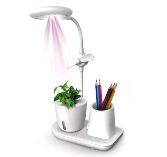 Grow Station, Desk Lamp with UV Light Plant Pot Holder ,Table Lamps with Adjustable Brightness Fan, Smartphone Holder USB Output Port Oxygen Booster